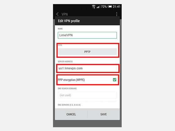 How to setup VPN on Android | Edit VPN Profile screen