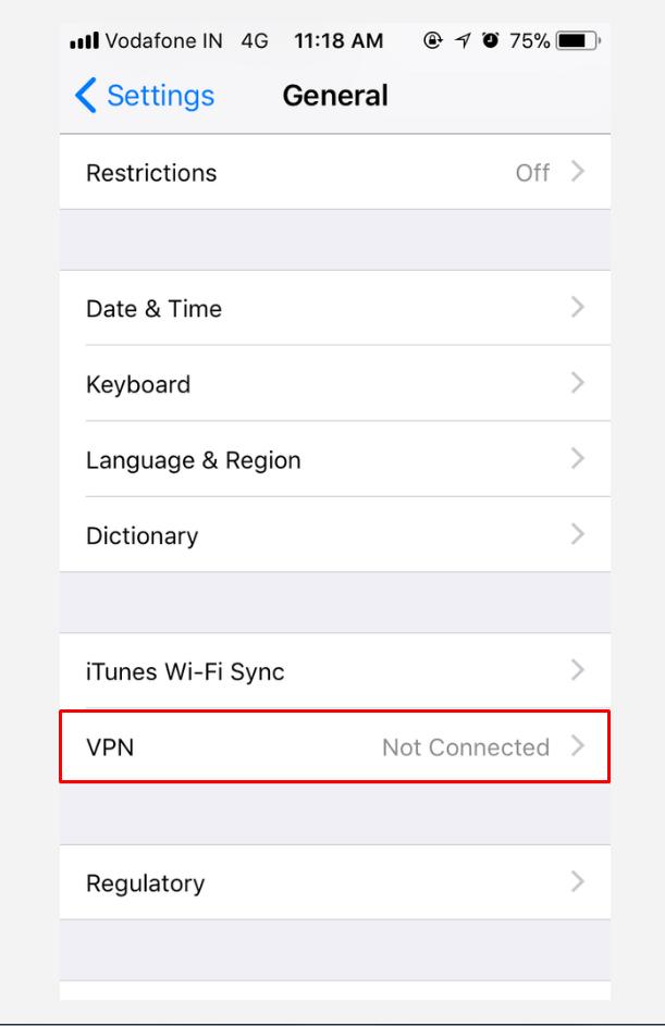 iOS General Settings screen