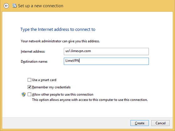 Setting up PPTP VPN Windows 8 | Setup a New Connection 2