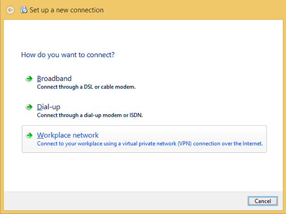 Windows 8 PPTP VPN Setup a New Connection