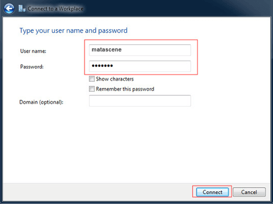 Configuring Windows Vista Connect to a Workplace Network Window 3