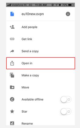 Configure VPN on iOS using OpenVPN app
