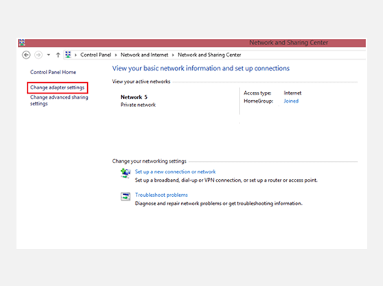 Setting up L2TP VPN on Windows 10 Network and Sharing Center Window