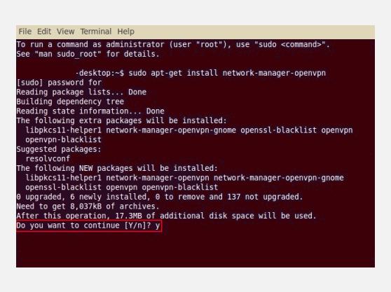 VPN for Linux OpenVPN Terminal instructions
