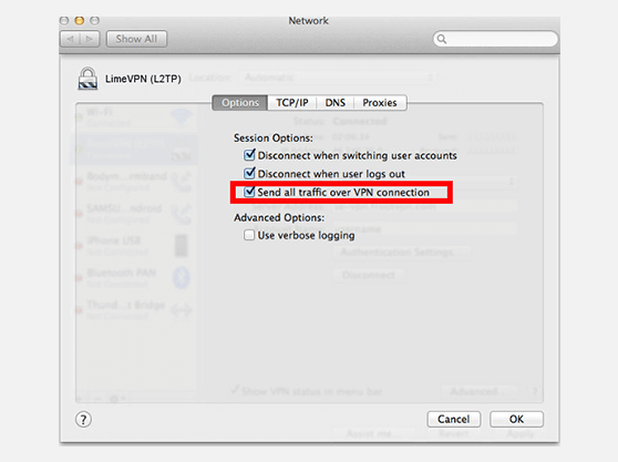 Create PPTP VPN connection on Mac OS X | Network Advanced window