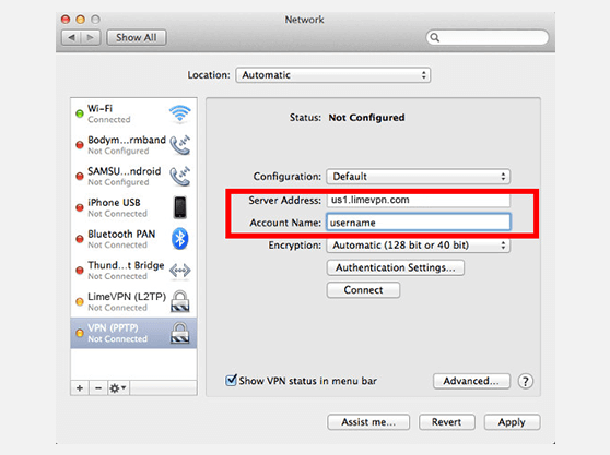 Mac OSX PPTP VPN setup instructions | Network window 2