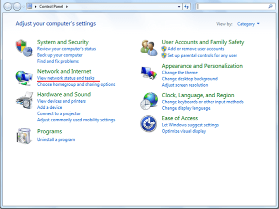 How to setup SSTP VPN on Windows Vista Control Panel Window