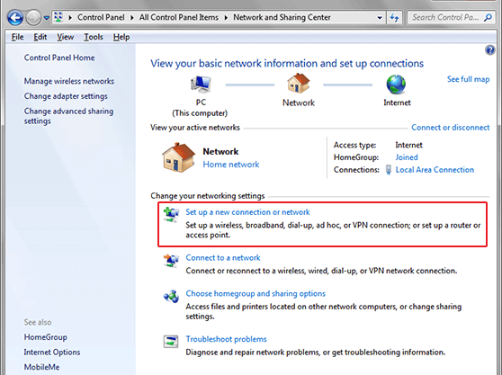 Windows Vista SSTP VPN setup in Network and Sharing Center Window