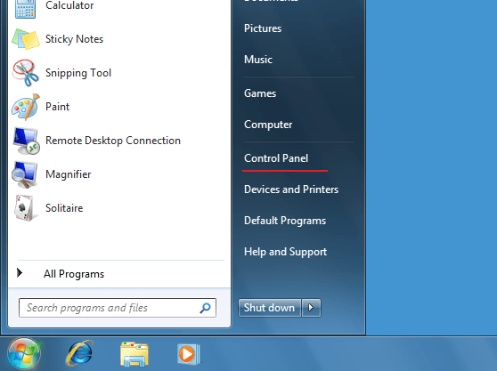 Setting up SSTP VPN on Windows Vista Start Menu