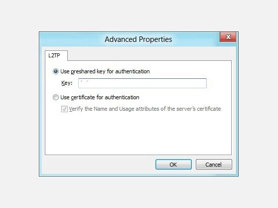 How to setup VPN in Windows 8 L2TP Advanced Properties