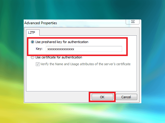 Setting up Windows Vista L2TP VPN Advanced Properties