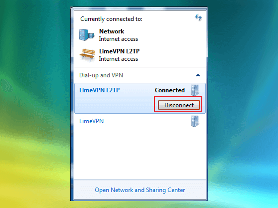 Windows Vista L2TP VPN setup guide - disconnecting screenshot