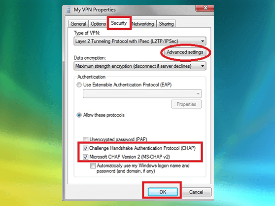 How to configure Windows Vista SSTP VPN settings