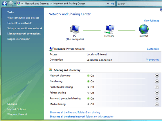 Setting up a VPN on Windows Vista Network and Sharing Center Window