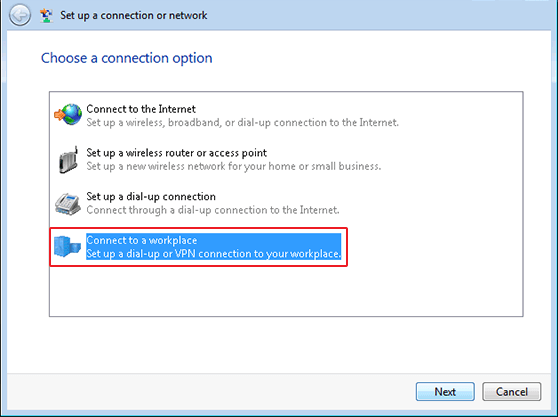 Create VPN connection in Windows Vista SSTP Setup a Connection or Network Window