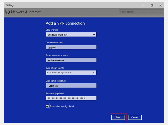 Setting up Windows 10 PPTP VPN Connection