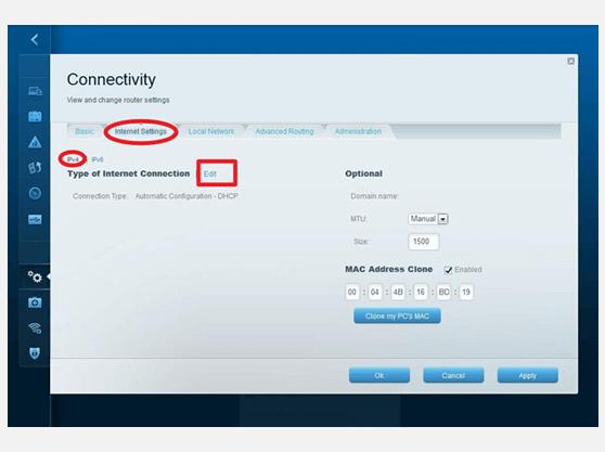 VPN settings for LINKSYS EA4500