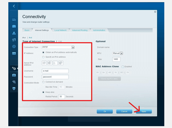 How to create VPN connection on LINKSYS EA4500
