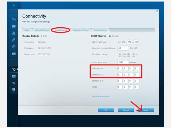 VPN configuration on LINKSYS EA4500