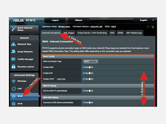 VPN setup Asus-RT-N12 WAN page
