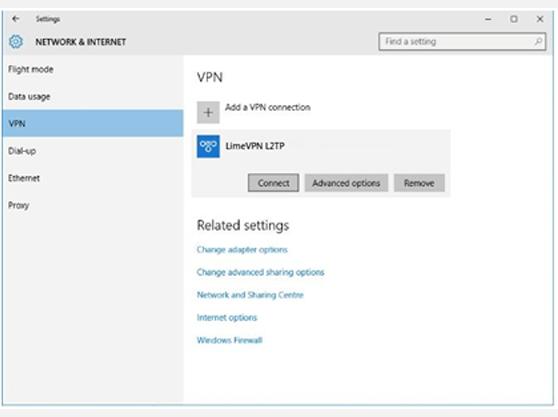 Setting up L2TP VPN on LimeVPN  L2TP Window