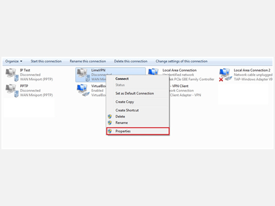 Setting up L2TP VPN on Windows 10 Change adapter settings Window