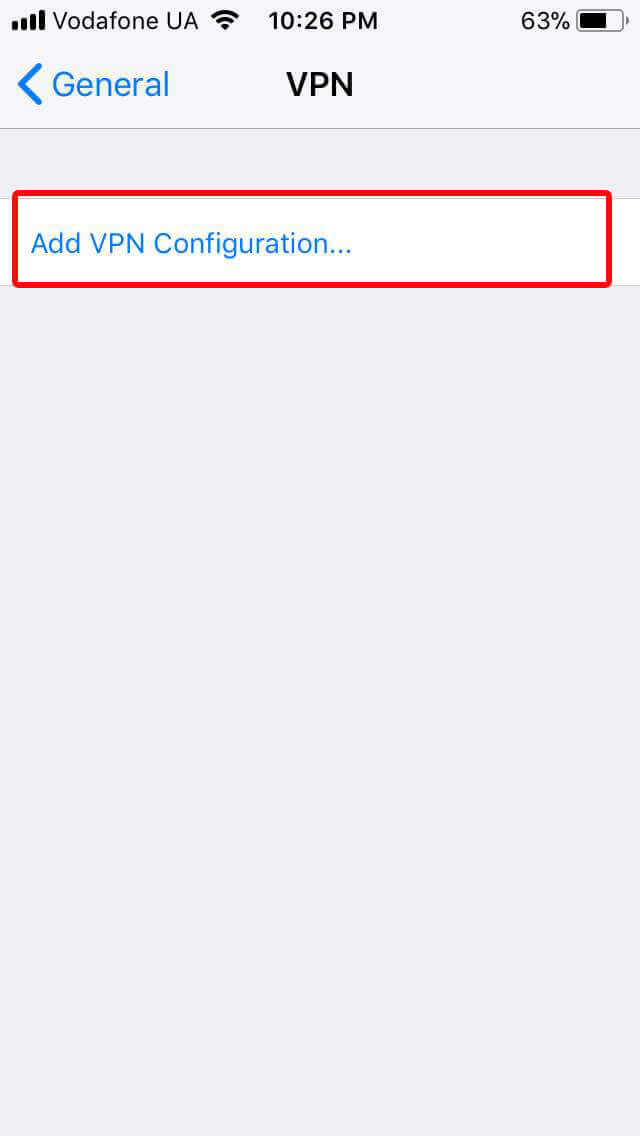 iOS Add VPN config