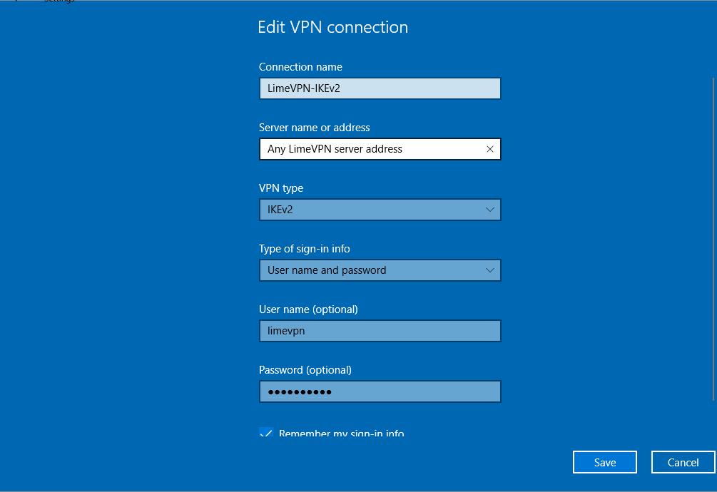 Windows 10 using IKEv2 protocol