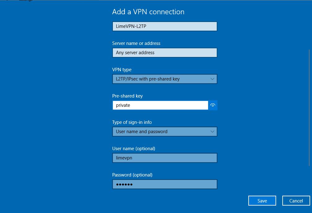 Setting up L2TP VPN on Windows 10 Start Window