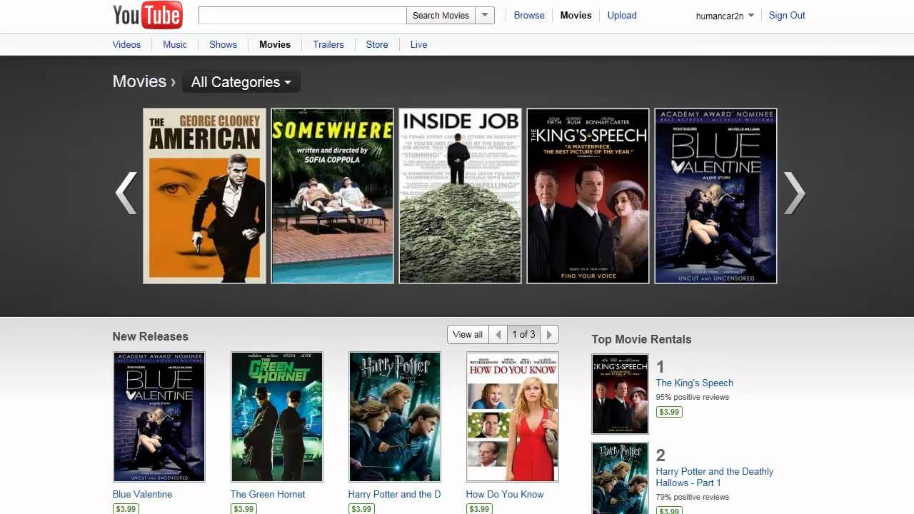 Youtube is the most popular of free movie streaming websites