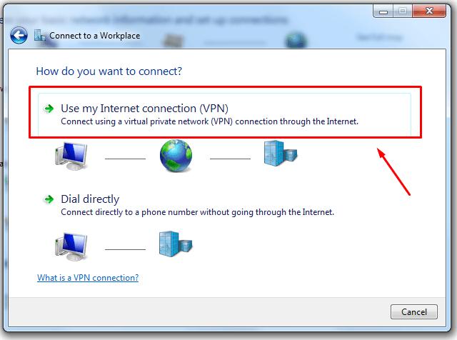 Setting up VPN in Windows 7 Start Menu