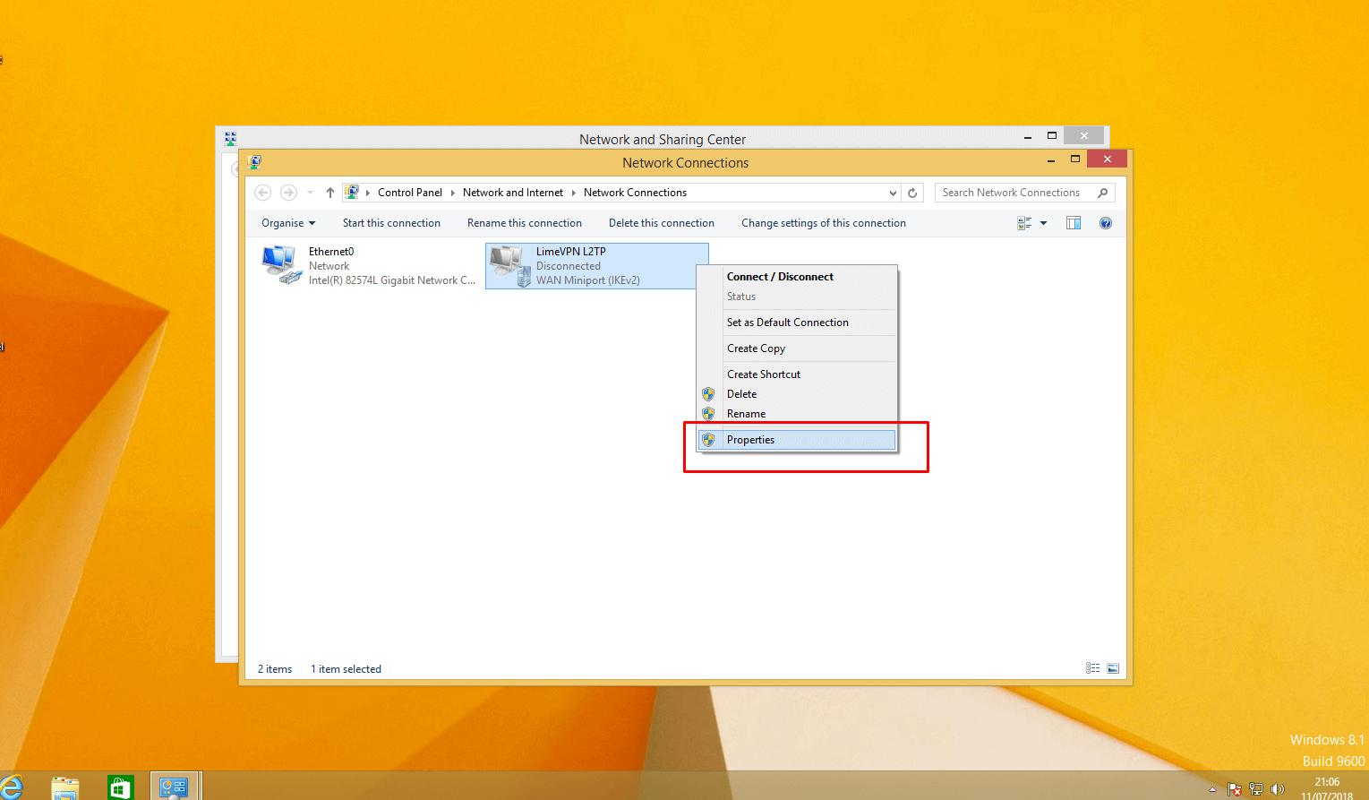Setting up L2TP VPN on Windows 8